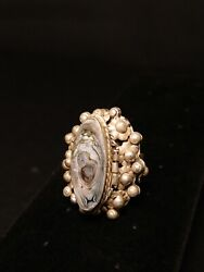 Antique Sterling Silver Flower Abalone Shell Pill Box Ring Size 8 16 Grams