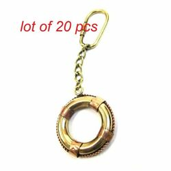 Antique Maritime Solid Brass Nautical Keychain Life Ring Collectible Keyring