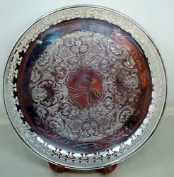 Vintage Primrose Silver Plated Pierced Gallery Tray Three Footed