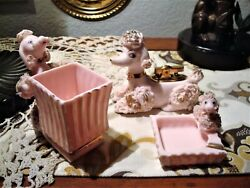 Pink Spaghetti Poodle Lighter Set - Working Lighter, Ashtray And Cigarette Cup