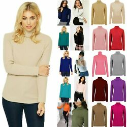 Ladies High Roll Polo Neck Top Womenand039s Knitted Ribbed Jumper Sweater New Uk