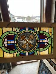 Sg3633 Antique Painted Inspired Stained Glass Window Keys 22 X 37.75