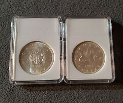 Rare Vintage Canada 1963 And 1964 1 Dollar Silver Coin Lot With Cases