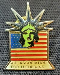 Aid Association For Lutherans Statue Of Liberty Flag Lapel Hat Pin 1983 Vintage