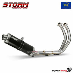 Full System Homologated Storm By Mivv Oval Black Steel Exhaust Yamaha Mt07 2014