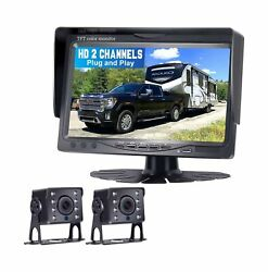 Dohonest Hd Dual Backup Camera And 7 Monitor Kit, High-speed Rear Observatio...