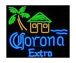 Corona Extra Beach House Real Glass Beer Bar Store Party Deocr Neon Signs
