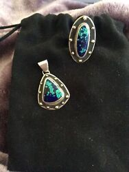 Sterling Silver And 14k Azurite Malachite Pendant And Ring