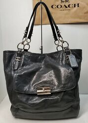 COACH KRISTIN North South Tote In Black Shimmer Pinnacle Leather F19385 $99.00