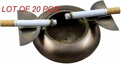 Vintage Brass Antique Cigarette Ash Tray With Lid For Smokers Home Office Decor