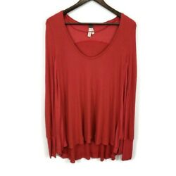 We The Free Womens Boho Red Malibu Thermal Top Size S Scoop Neck Long Sleeve