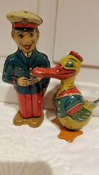 Vintage J. Chein Wind Up Toys, Duck And Policeman Lot Of 2, Both Work