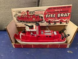 Vintage Ideal Plastic Working Fire Boat With Box,1960s