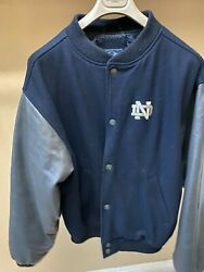 Vintage Wool And Leather Notre Dame Jacket Size L Euc Navy