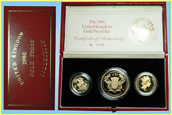 United Kingdom 1988 Gold Proof 3 Coins Collection In Cased And Certificate