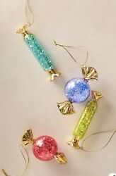 Anthropologie Glitterville Wrapped Candy Ornaments Lot Of 4 All Colors