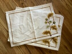 Qty 6 Williams-sonoma Embroidered Leaves Placemats Cotton Fall Thanksgiving