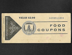 Food Stamp Coupon U.s.d.a. Unc 1973 2.00 One Full Book Welfare Scrip
