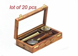 Brass Compass Magnifying Glass And Telescope With Handmade Wooden Box Collectible