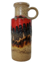 And03960s Scheurich 401-20 Handle Vase W Germany Retro Decor Red Fat Lava Collectible