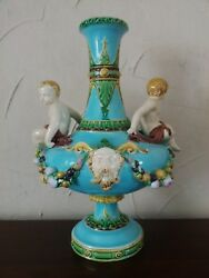 Extremely Rare Minton Majolica Figural Vase Centrepiece By Carrier Belleuse 1871