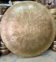 60 Cm Large Gong From Nepal Special Hand Carve With Various Ritual Art Gong Bell