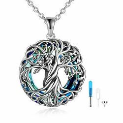 Sterling Silver Blue Crystal Wrapped Tree Of Life Circle Pendant Urn Necklace