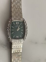 Rare Green Face Vintage Omega Solid 18k Gold And Diamond Watch 37.5gr Working