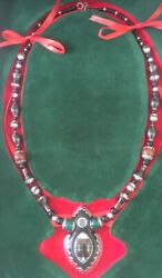 Hand Carved Pendant Multicolore 925 Sterling Silver And Wood Blackand Agate Necklace