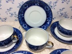 Johnson Brothers England Flow Blue 5 Cup And Saucer Sets Turin Pattern