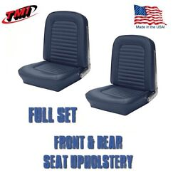 Front And Rear Seat Upholstery Blue Vinyl For 1964-1/2 And1965 Mustang Convertible