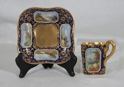 Rare Antique 1880s Coalport Spaulding And Co Handpainted Demitasse Cup And Saucer 1