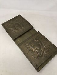 Antique Brass Expandable Book Stand Embossed Eagle Scene