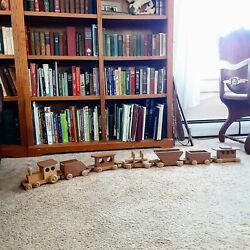 Handmade Wood Train Set Vintage Collectable Toy Wooden Engine 6 Cars 5' Long