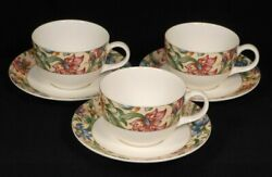 Royal Doulton Everyday Jacobean Tc 1216 Tea Cup And Saucer X 3 Sets 3576-4f3