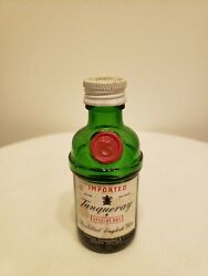 Empty Mini Tanqueray Distilled English Gin Bottle 1/10 Pint Label And Cap Intact