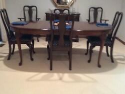 Vintage Erwin Lambeth Solid Cherry Wood Oval Dining Room Table