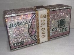 Stack of Cash Crystals Women Money Evening Clutch Bags diamond painting chain... $50.00