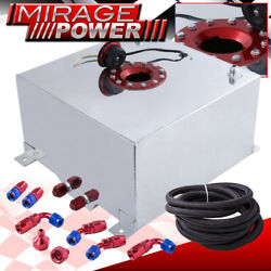 40 Liters 10 Gallons Aluminum Chrome Fuel Cell Tank Red Cap Braided Oil Line
