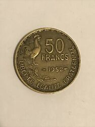 France 50 Francs 1952 Coin 🇫🇷 French Postwar Km918 Rooster 🐓 Really Nice