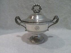 Rare French 950 Silver 1830 Covered Bowl For Dragandeacutees Sweets Leopard Handles
