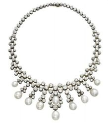 Vintage Style White Round 925 Sterling Silver Pearl Highend Necklace Fine Jewel