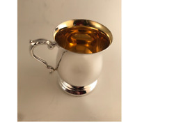 Georgian Style One Pint Tankard Silver Plated Epns A1 With A Gilded Bowl
