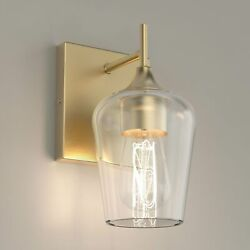 Clear Glass Shade Vanity Lights Fixture, Bell Shape With Brass Gold Finish