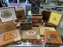 Huge Lot 16 Pcs Vintage Wooden Cigar Boxes Used Great Collection