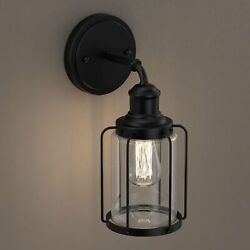 Birdcage Shape Vanity Light Fixture, Matte Black With Clear Glass Shade E26 Base