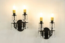 Pair Of Double Wall Sconces Crystal Prisms Beeswax Candle Covers 36398