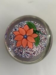 Antique Boston And Sandwich Company Poinsettia On Jasper Paperweight