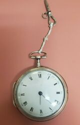 Late 1700's Swiss Fusee Pocket Watch Heavy Sterling Pair Case Key Wound Works