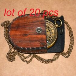 Compass Antique Vintage Brass 2 Maritime Locket Compass With Leather Cover Gift